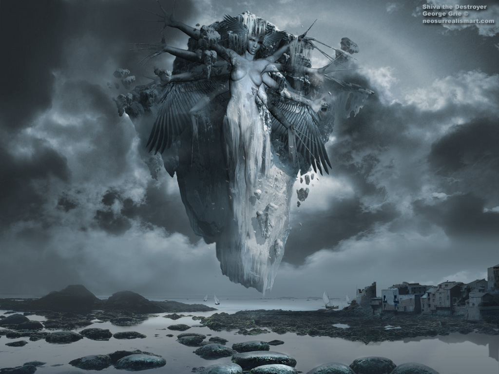 Surreal Fantasy Art 3D Wallpapers Surrealist Images Artists Pictures Shiva The Destroyer Wallpaper Kewords Scenic Background Clouds