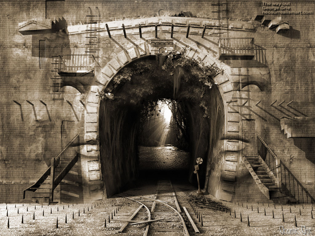 modern surrealism painting, contemporary surrealist graphic drawing, 3d rendering, art, background, bizarre, canvass, disturbing, drama, dramatic, dream, emotion, expression, face, human, icon, mask, mystery, surreal, symbol, tragedy, artist Dark mystical Wall face railway Surrealistic phantasmagoric metaphorical railroad tunnel, Suicidal thoughts, forest light stairs steps ladders philosophical mania suicidal tendencies, Parasuicide Suicide and mental illness, dangerous Mental disorder